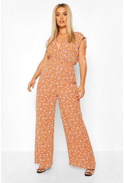 Rust orange Plus Floral Shirred Tie Detail Wide Leg Jumpsuit