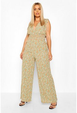 Sage green Plus Floral Shirred Tie Detail Wide Leg Jumpsuit