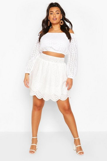 White Plus Broderie Anglaise Ruffle Tiered Skater Skirt