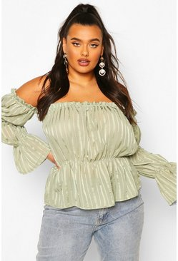 Sage green Plus Sheer Satin Striped Bardot Peplum Top