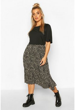 Black Plus 2 In 1 Printed Pleated Skater Dress
