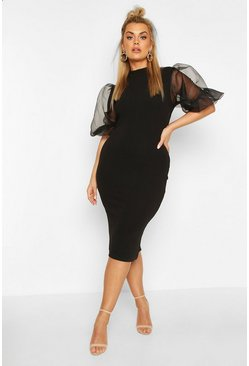 Black Plus Organza Puff Ball Sleeve Midi Dress