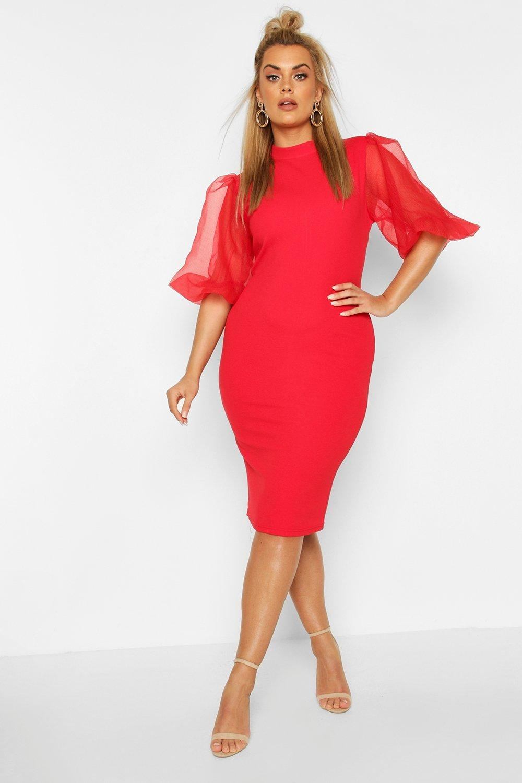 Plus Organza Puff Ball Sleeve Midi Dress 8
