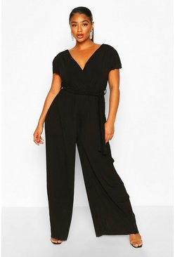 Black Plus Wrap Front Pleated Wide Leg Jumpsuit