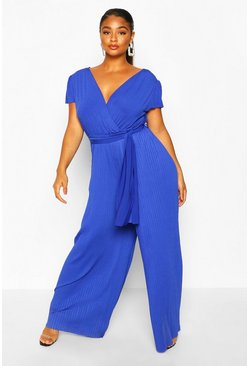 Cobalt blue Plus Wrap Front Pleated Wide Leg Jumpsuit