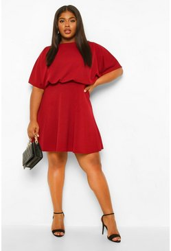 Berry Plus Blouson Skater Dress
