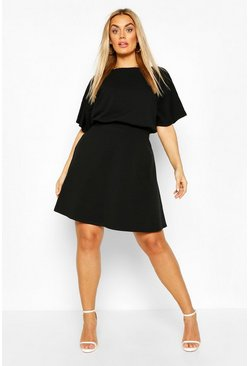 Black Plus Blouson Skater Dress