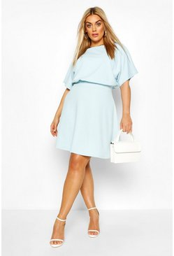 Sky blue Plus Blouson Skater Dress
