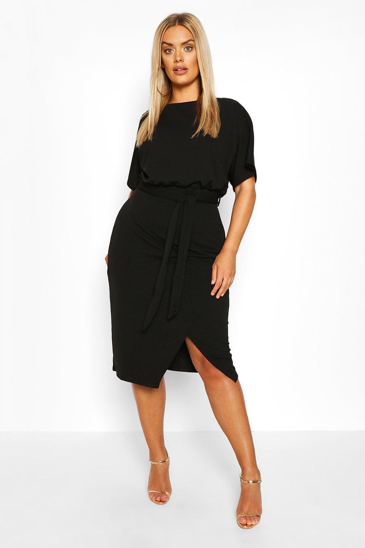 Plus Blouson Wrap Detail Midi Dress 8