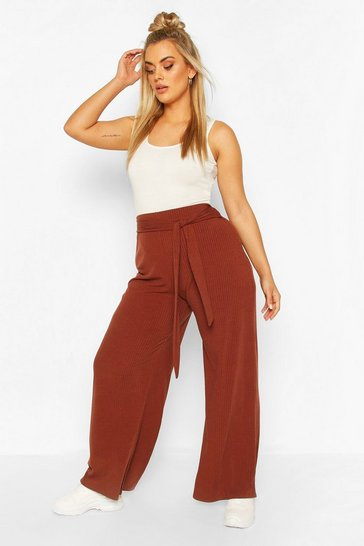 Chocolate brown Plus Soft Rib Wide Leg Trousers