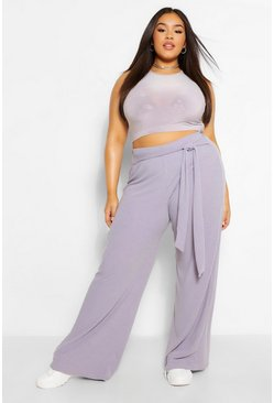 Grey Plus Soft Rib Wide Leg Trousers