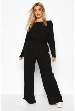 Black Plus Slash Neck Rib Lounge Set