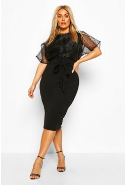 Black Plus Heart Organza Blouson Midi Dress