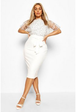 Ivory white Plus Heart Organza Blouson Midi Dress