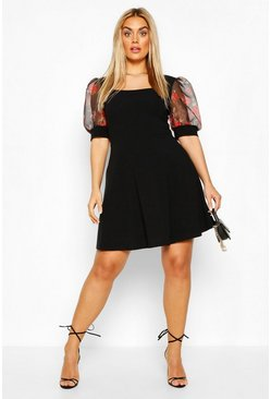 Black Plus Floral Organza Skater Dress