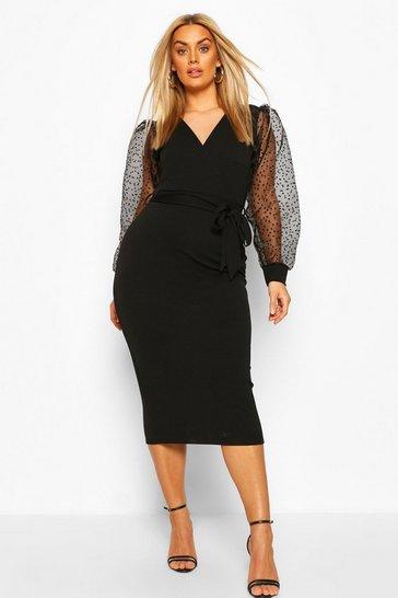 Black Plus Heart Organza Sleeve Midi Dress