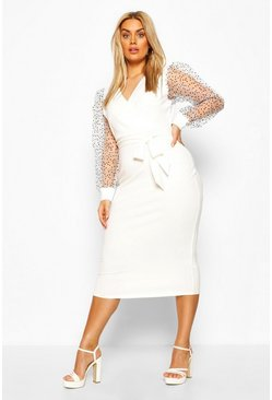 Ivory white Plus Heart Organza Sleeve Midi Dress