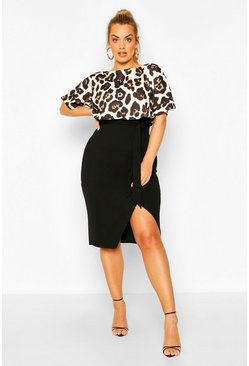 Black Plus Leopard Contrast Wrap Midi Dress