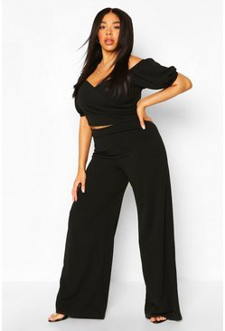 Black Plus Off The Shoulder Top & Wide Leg Trouser Co-ord