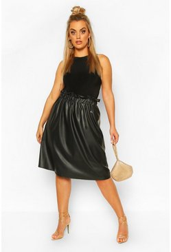 Black Plus Pu Pleated Midi Skirt
