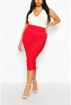 Falda midi fruncida Plus, Red rojo