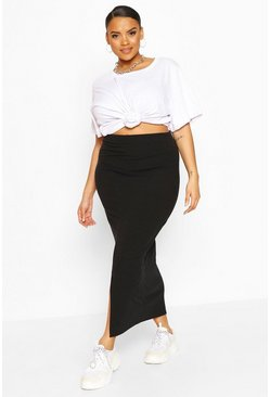 Black Plus Soft Rib Split Front Midaxi Skirt