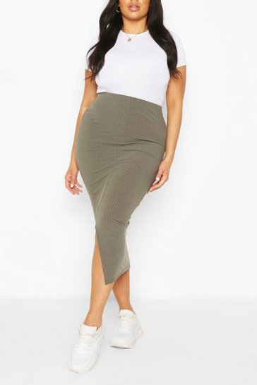 Khaki Plus Soft Rib Split Front Midaxi Skirt