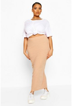 Stone beige Plus Soft Rib Split Front Midaxi Skirt