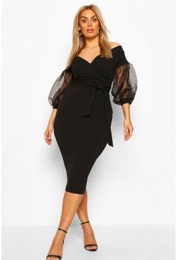 Black Plus Off The Shoulder Organza Sleeve Midi Dress