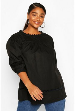 Black Plus Crochet Lace Trim Smock Top