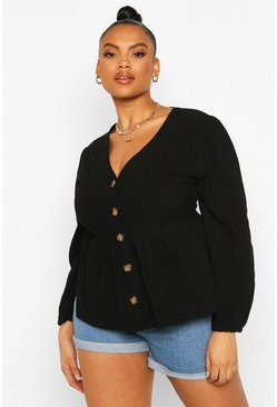 Black Plus Blouson Sleeve Peplum Top