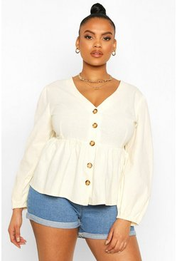 Ivory white Plus Blouson Sleeve Peplum Top