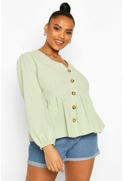 Sage green Plus Blouson Sleeve Peplum Top