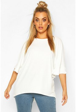 Ivory Plus Frill Cuff Soft Rib Tunic Top