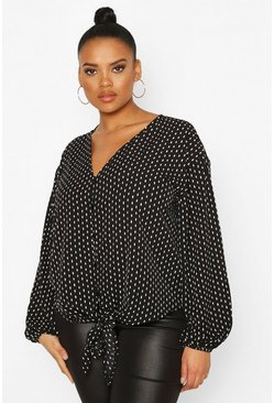Black Plus Diamond Print Tie Front Blouse