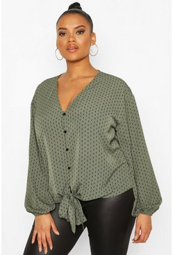Khaki Plus Diamond Print Tie Front Blouse