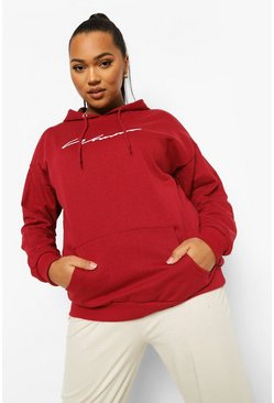 Berry red Plus Woman Script Embroidered Slogan Hoody