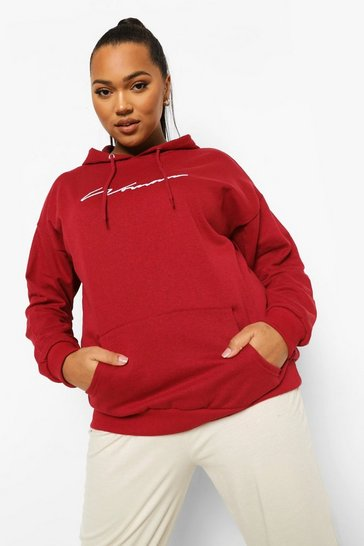 Berry red Red Plus Woman Script Embroidered Slogan Hoodie