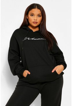 Black Plus Woman Script Embroidered Slogan Hoody
