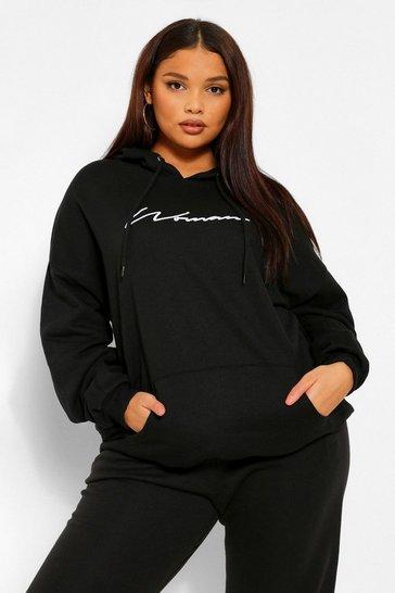 Black Plus Woman Script Embroidered Slogan Hoodie