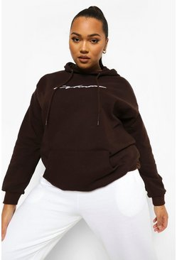 Chocolate brown Plus Woman Script Embroidered Slogan Hoody