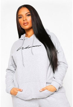 Grey marl grey Plus Woman Script Embroidered Slogan Hoody