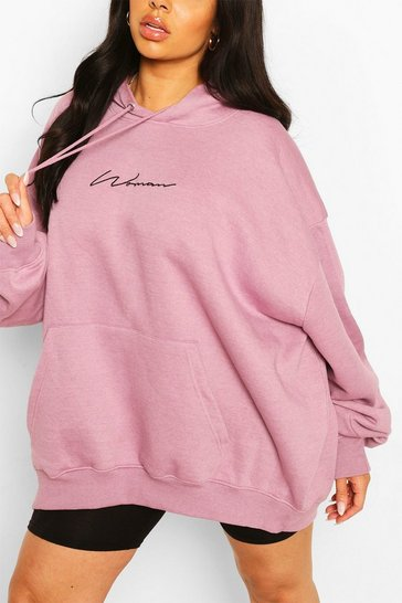 Lilac purple Plus Woman Script Embroidered Slogan Hoody