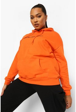 Plus Hoodie mit aufgesticktem Woman-Slogan, Orange
