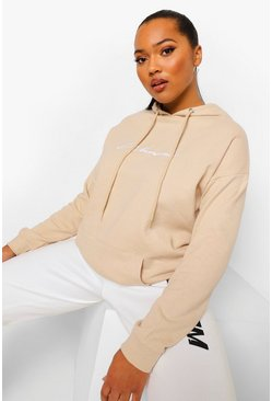 Stone beige Plus Woman Script Embroidered Slogan Hoody