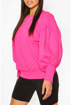 Bright pink pink Petite Volume Sleeve Sweat Shirt
