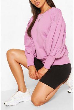 Lilac purple Petite Volume Sleeve Sweat Shirt