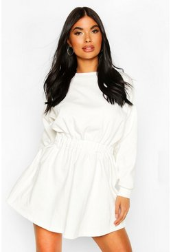 Ivory white Petite Ruched Waist Sweat Dress