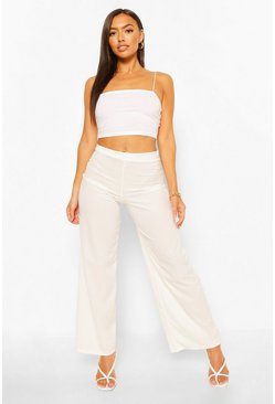 Ivory white Petite Rib Wide Leg Pants