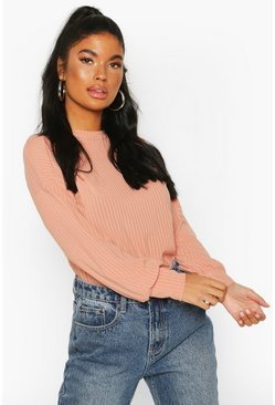 Peach Petite Ribbed Long Sleeve Top